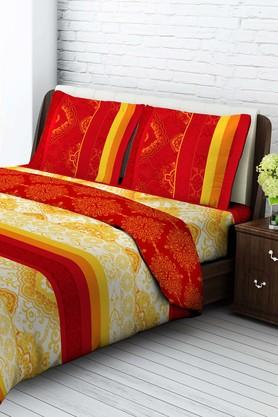 TANGERINE Cotton Printed Double Bedsheet And Pillow Set - 200456807