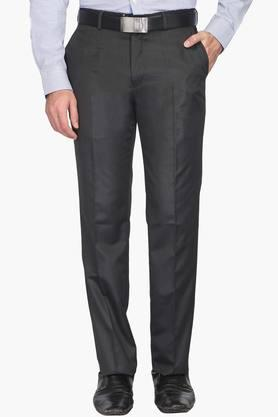 Mens Tapered Fit 4 Pocket Solid Formal Trousers (Zino Fit)