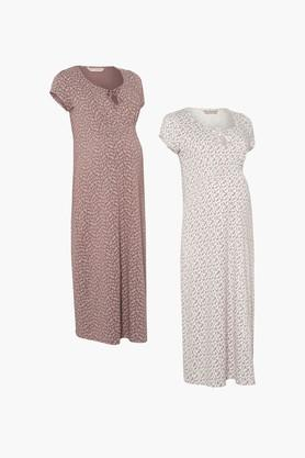 MOTHERCARE Maternity Cotton Printed Night Dress - Pack Of 2