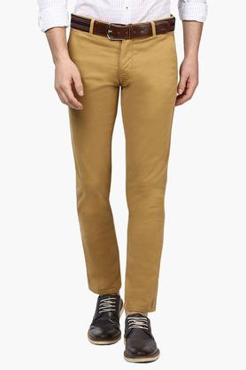 PARX Mens Tapered Fit 4 Pocket Solid Trousers  ... - 202134147