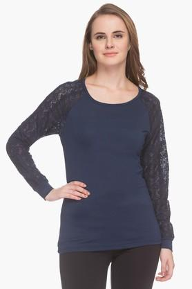 MSTAKENWomens Mesh-patterned Round Neck Top