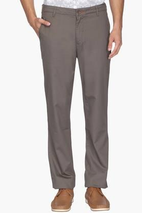 BLACKBERRYS Mens Regular Fit 4 Pocket Solid Trousers