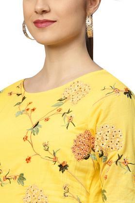 Womens Round Neck Embroidered Anarkali Kurta