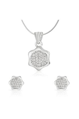 MAHIMahi Rhodium Plated Hexagonal Geometric Pendant Set With CZ For Women NL1100153R