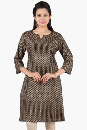JASHN Women Ethnic Print Pintuck Cotton Kurta  ...