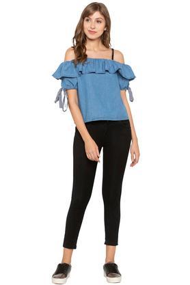 Womens Off Shoulder Neck Washed Top