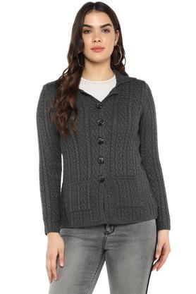 Womens Notched Lapel Knitted Cardigan