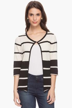 EXCLUSIVE LINES FROM BRANDS Womens Round Neck Stripe Shrug