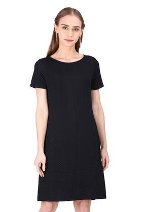 Womens Round Neck Self Printed Shift Dress