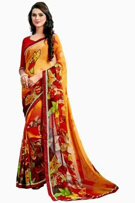 Women Faux Georgette Floral With Lace Printed Saree