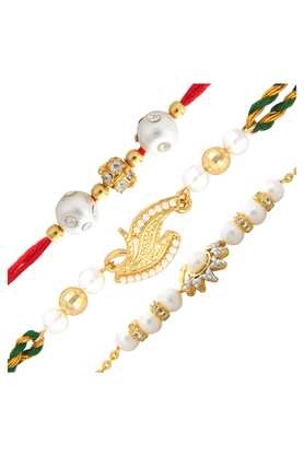 MAHI Combo Of Sublime Gold Plated Three Rakhis