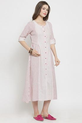Womens Round Neck Stripe Midi Dress
