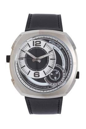 Mens White Dial Leather Analogue Watch - W-PL15533JS02W