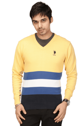 U.S. POLO ASSN. Mens Full Sleeves V Neck Slim Fit Stripe Sweater