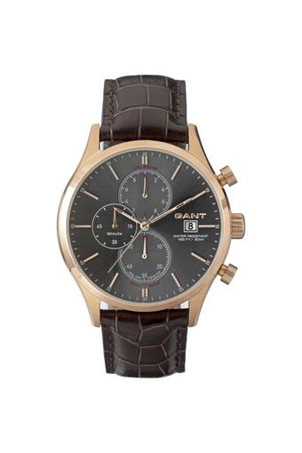 Mens Black Dial Leather Chronograph Watch - W70406