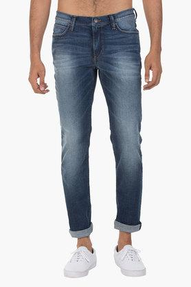 LEE Mens 5 Pocket Skinny Fit Heavy Wash Jeans (Bruce Fit) - 202175825