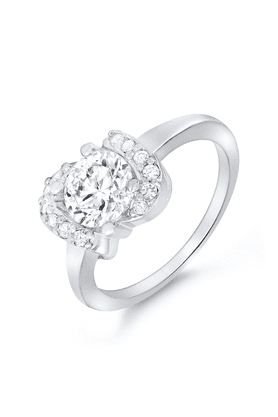 MAHIMahi Rhodium Plated Love Delight Ring With CZ Stones For Women FR1100084R