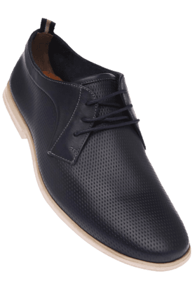 CLARKSMens Blue Leather Smart Casual Lace Up Shoe