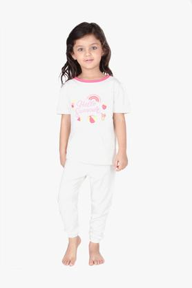 Girls Round Neck Graphic Print Tee Joggers and Shorts Set