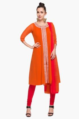 IMARAWomens Round Neck Solid Embroidered Churidar Suit