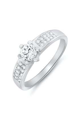 MAHIMahi Rhodium Plated Cosy Sparkle Ring With CZ Stones For Women FR1100077R
