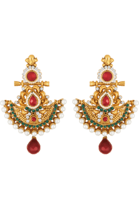 DONNA Traditional Ethnic Diya Dangler Earrings With Green & Red Colored Crystal & Pearl For Women By Donna ER30005G