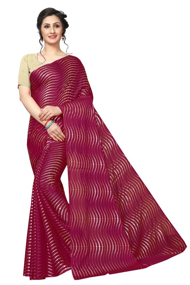 Womens Foil Printed Saree with Blouse Piece