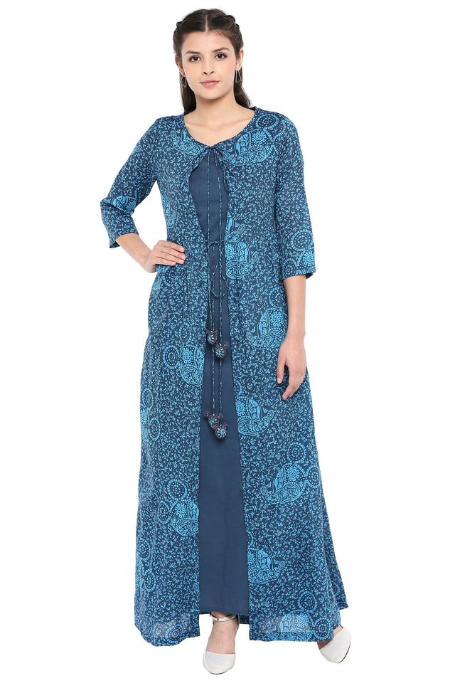 Womens Tie Up Neck Printed Layered Kurta with Jacket