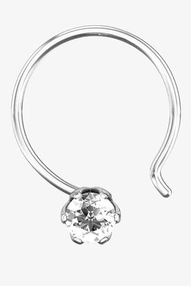 VELVETCASEWomens 18 Karat White Gold Nose Ring (Free Diamond Pendant) - 201065074