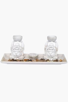 ADARA Laughing Buddha Statue In A Tray