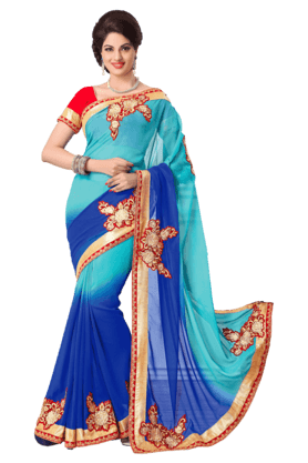 DEMARCA Womens Embroidered Saree (Buy Any Demarca Product & Get A Pair Of Matching Earrings Free)