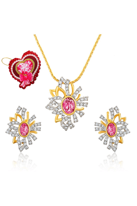MAHI Mahi Valentine GiftLove Pink Aster Flower Pendant Set Made With Swarovski Elements With Heart Shaped Card For Women NL5104130GPinWhiCd