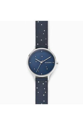 Womens Blue Dial Leather Analogue Watch - SKW2762