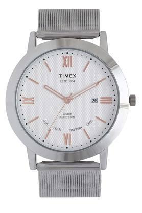 Mens White Dial Metallic Analogue Watch - TWEG17801