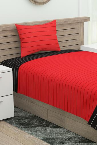 Magical Linea Striped Single Bed Sheet with 1 Pillow Cover