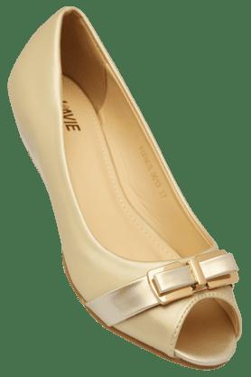 LAVIEWomens Party Wear Leather Slipon Peep Toe Pump Shoe