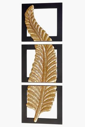 MALHARWrought Iron 3 Section Fern Crush Leaf Wall Decor