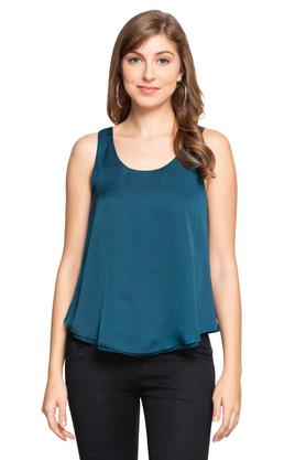 Womens Round Neck Solid Top