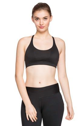 Womens Solid Padded Non Wired Sports Bra