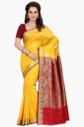 ISHIN Womens Golden Weave Poly Silk Saree