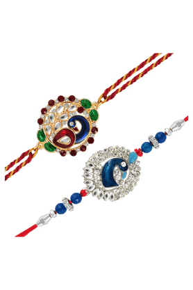 MAHI Crystals And Beads Peacock Combo Of Two Rakhis