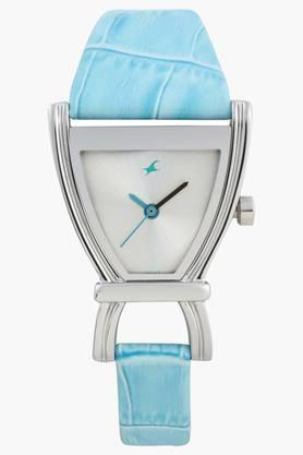 Fastrack Womens Silver Dial Leather Strap Watch image