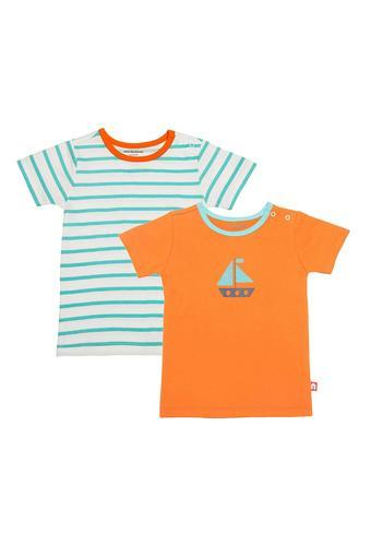 Boys Round Neck Printed and Striped Tee - Pack 2