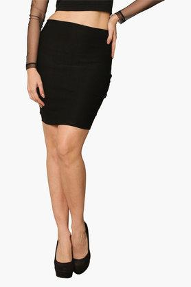 MISS CHASE Womens Solid Short Skirt