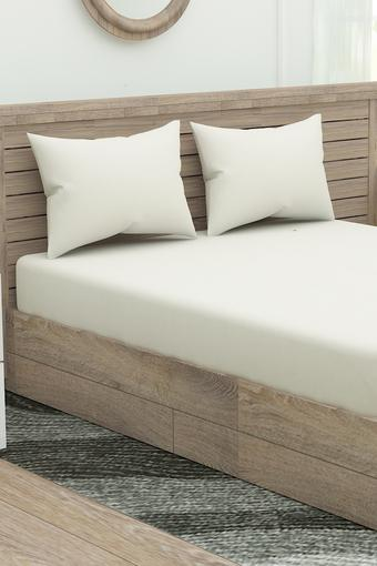 Solid Fitted Bed Sheet with Pillow Cover