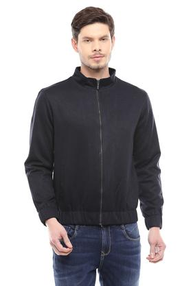 Mens Zip Through Neck Slub Jacket