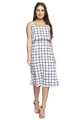 Womens Square Neck Checked Knee Length Dress