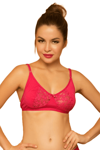 Cotton Rich Non-Padded Bra With Lace