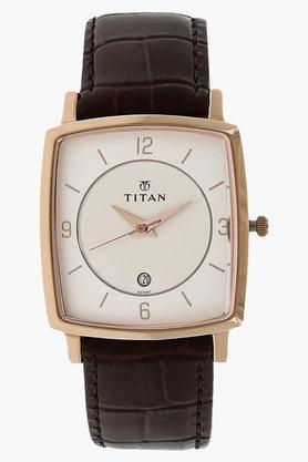 TITANMens Silver Dial Leather Strap Watch