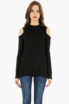 FABALLEY Womens High Neck Cold Shoulder Solid Sweater